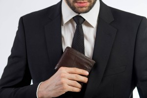 Businessman put his wallet back